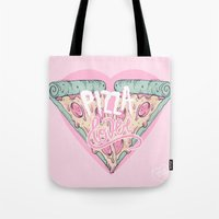 pizza Tote Bags featuring Pizza Lover by lOll3