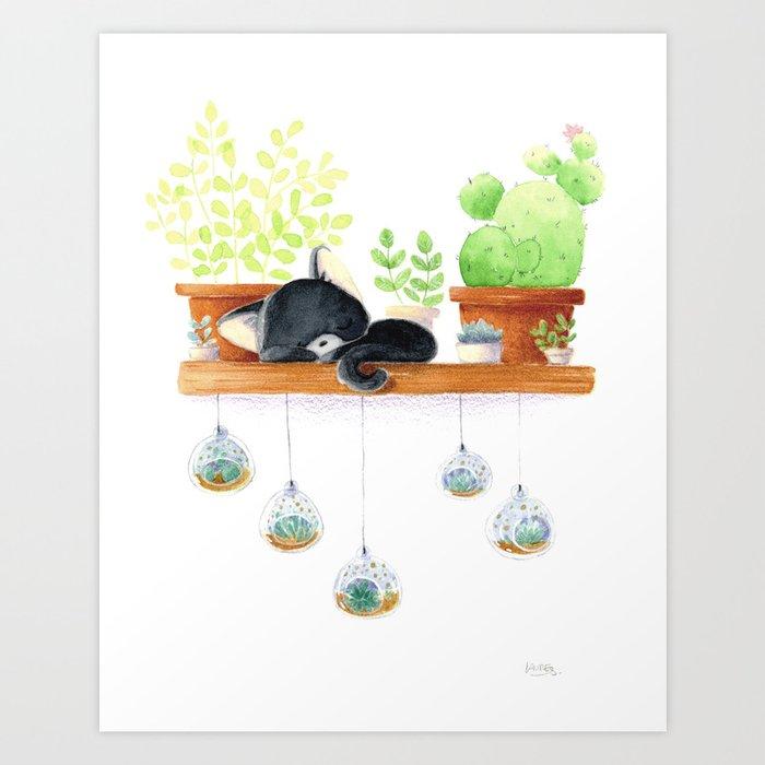 Cat sleeping Art Print