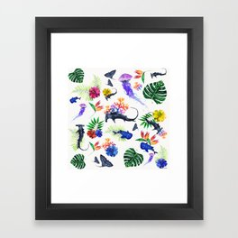 tropical shark pattern Framed Art Print