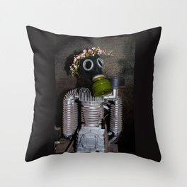 Household robot with gasmask Throw Pillow