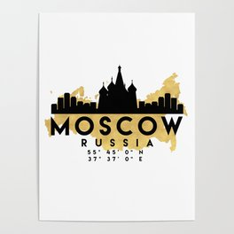 MOSCOW RUSSIA SILHOUETTE SKYLINE MAP ART Poster