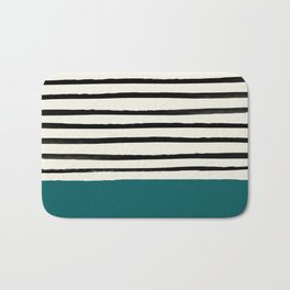 Dark Turquoise & Stripes Bath Mat