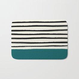Dark Turquoise & Stripes Bath Mat