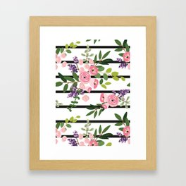 Pink roses bouquets with greenery on the striped background Framed Art Print