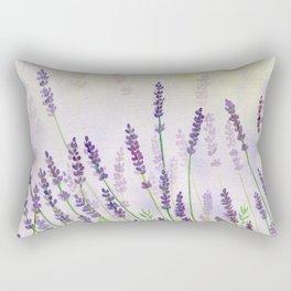 Lavender Flowers Watercolor Rectangular Pillow