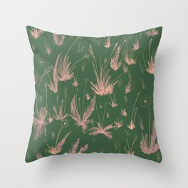 Flower Field - Green and Pink Throw Pillow