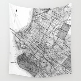 Vintage Map of Oakland California (1878) BW Wall Tapestry