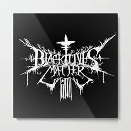 Black Lives Matter Black Metal Logo Metal Print