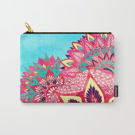 Bohemian boho red blue floral paisley pattern Carry-All Pouch