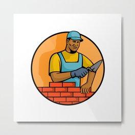 African American Bricklayer Mascot Metal Print