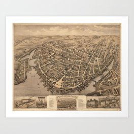 Vintage Pictorial Map of New London CT (1876) Art Print