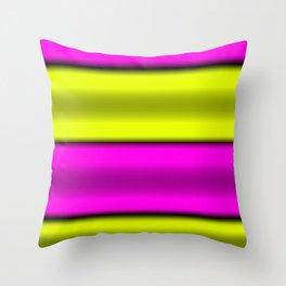 Pink & Yellow  Horizontal Stripes Throw Pillow