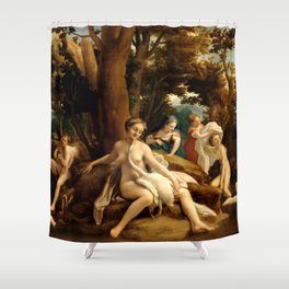 "Antonio Allegri da Correggio ""Leda and the Swan"" Shower Curtain"