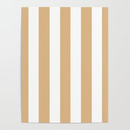 Burlywood brown -  solid color - white vertical lines pattern Poster