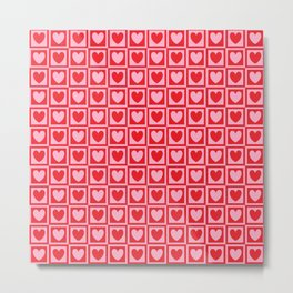 Hearts and Squares Metal Print