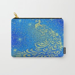 Sparkling Blue & Yellow Peacock Carry-All Pouch