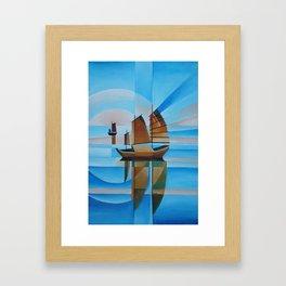 Soft Skies, Cerulean Seas and Cubist Junks Framed Art Print
