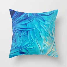 WATER FLOWERS - Beautiful Water Ocean Theme Shades Blue Floral Modern Design Abstract Painting Throw Pillow