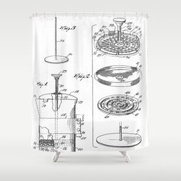 Coffee Filter Patent - Coffee Shop Art - Black And White Shower Curtain