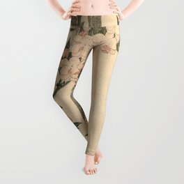 Hokusai, flowers of a cherry-tree- manga, japan,hokusai,japanese,北斎,ミュージシャン Leggings