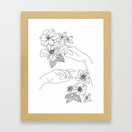 Hands and flowers line drawing illustration - Isabel Framed Art Print