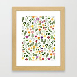 Scandinavian Style Flora & Fauna Pattern Framed Art Print