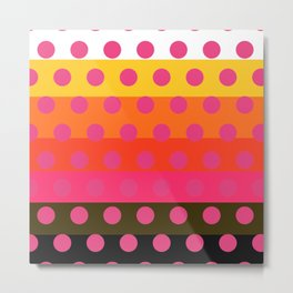 Earth and Summer Sky - Color Strips with Pink Dots Metal Print