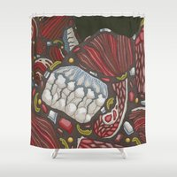 meat Shower Curtains featuring meat monuments by thefleafarm (Amy Wright)