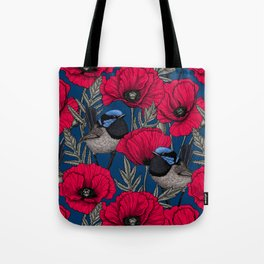 Fairy wren and poppies Tote Bag