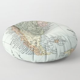 Vintage Map of the South of America Floor Pillow