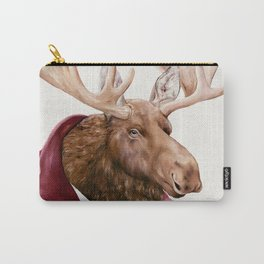 Moose in Maroon Carry-All Pouch