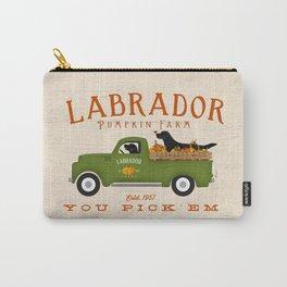 Labrador Black Lab Vintage Pumpkin Truck Autumn Fall Farm Halloween Carry-All Pouch