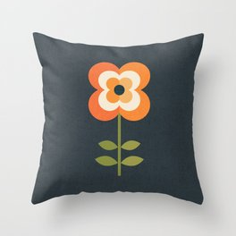 RETRO FLOWER - ORANGE AND CHARCOAL Throw Pillow