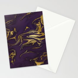 Dark Purple Gold Marble Stationery Cards