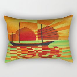 Junk on Sea of Green Cubist Abstract  Rectangular Pillow