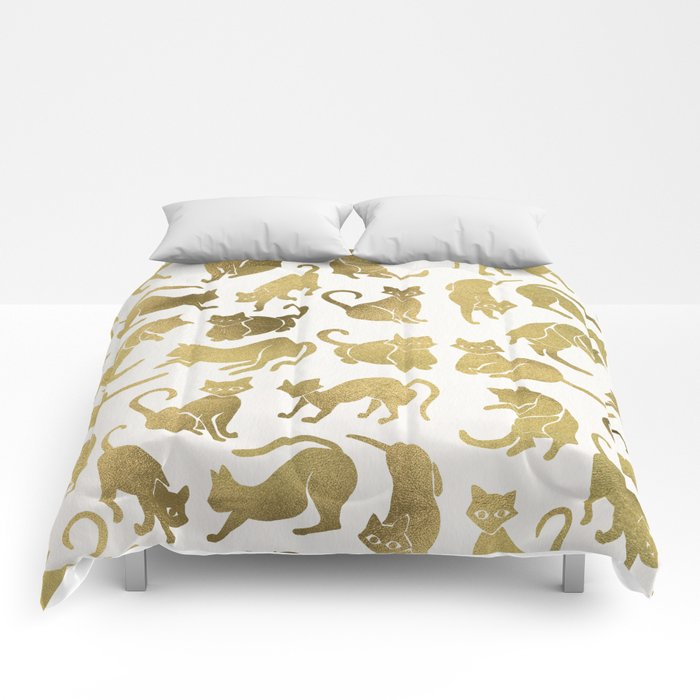 Cat Positions – Gold Palette Comforters