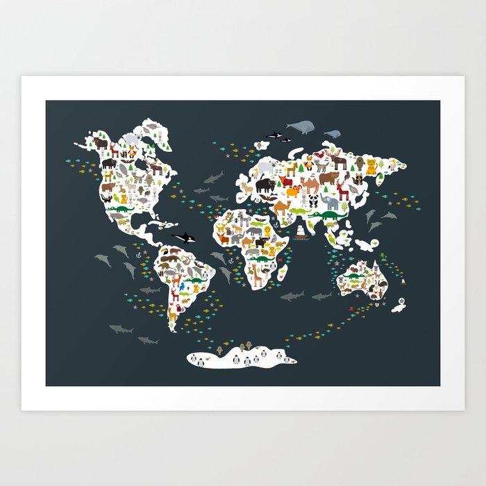 Cartoon animal world map for children, kids, Animals from all over the world, back to school, gray Kunstdrucke