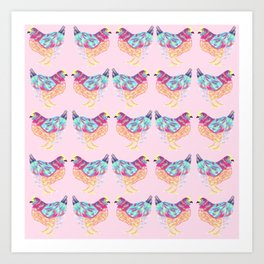 Pretty Pink Colorful Chickens Art Print