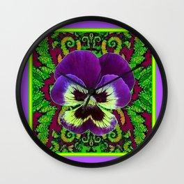 Purple PANSY Green Garden art Wall Clock