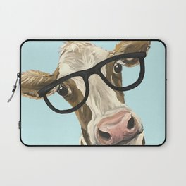 Cute Glasses Cow Up Close Cow With Glasses Laptop Sleeve