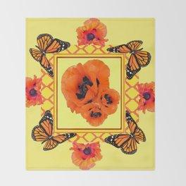 WESTERN ORANGE POPPIES & BUTTERFLIES  YELLOW ART DESIGN Throw Blanket