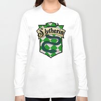 slytherin Long Sleeve T-shirts featuring Slytherin Crest by AriesNamarie
