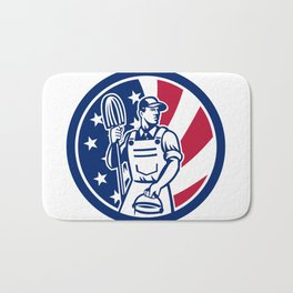 American Professional Cleaner USA Flag Icon Bath Mat