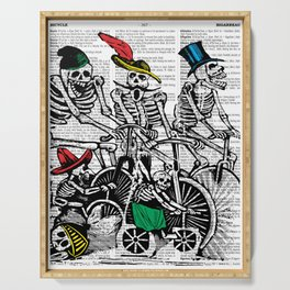 Calavera Cyclists | Skeletons on Bikes | Day of the Dead | Dia de los Muertos | Dictionary Text | Serving Tray