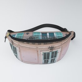 Old City San Remo | ITaly | Flower Riviera, coast. Light blue-pink travel photography poster Fanny Pack