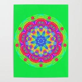Amazing Day Neon Mandala Poster