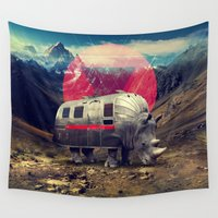 ali gulec Wall Tapestries featuring Rhino by Ali GULEC