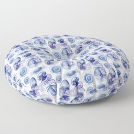 Ernst Haeckel Jellyfish Leptomedusae Vivid Blues Floor Pillow