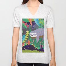 Sloth in nature Unisex V-Neck