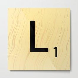 Scrabble L Decor, Scrabble Art, Large Scrabble Tile Initials Metal Print